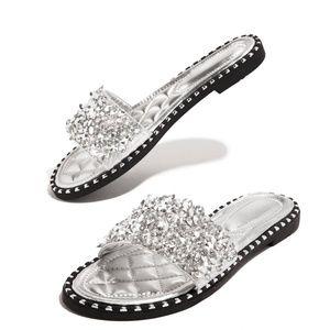 Wild Diva Shoes - NEW🔥 Sparkling Rhinestone Crystal Slide Flip Flop